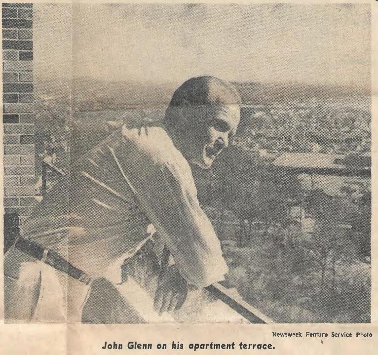 John Glenn on his apartment terrace.