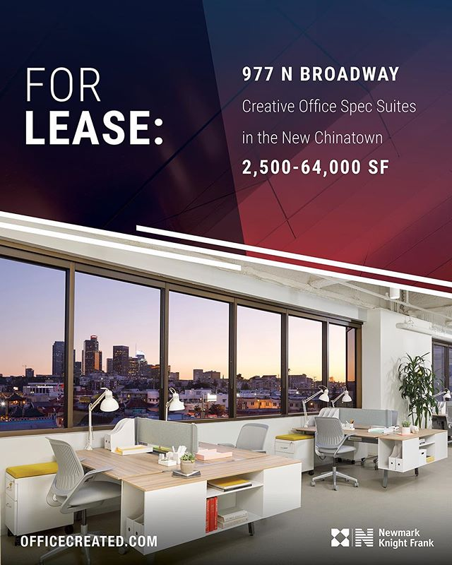 We are pleased to offer brand new spec suites for lease at 977 N Broadway. Located in Chinatown, just north of Downtown LA, this unique building consists of suites ranging from 2,500 to 4,300 square feet that surround a central shared kitchen and tenant lounge. Visit 977Broadway.com for more information.