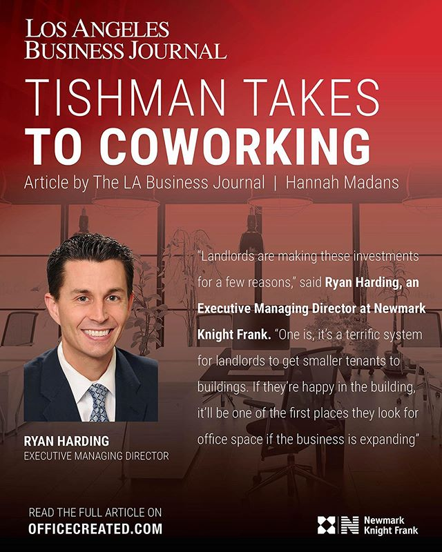 As the use of the office continues to evolve, we were interviewed by the Los Angeles Business Journal regarding our thoughts on co-working, ownerships partnering with co-working firms and what we see for the future of this still relatively new concept. Thank you to the team at the Los Angeles Business Journal for the opportunity to speak on this subject. The full article is also available on OfficeCreated.com. #nkf #cre #coworking #wework #creativeoffice