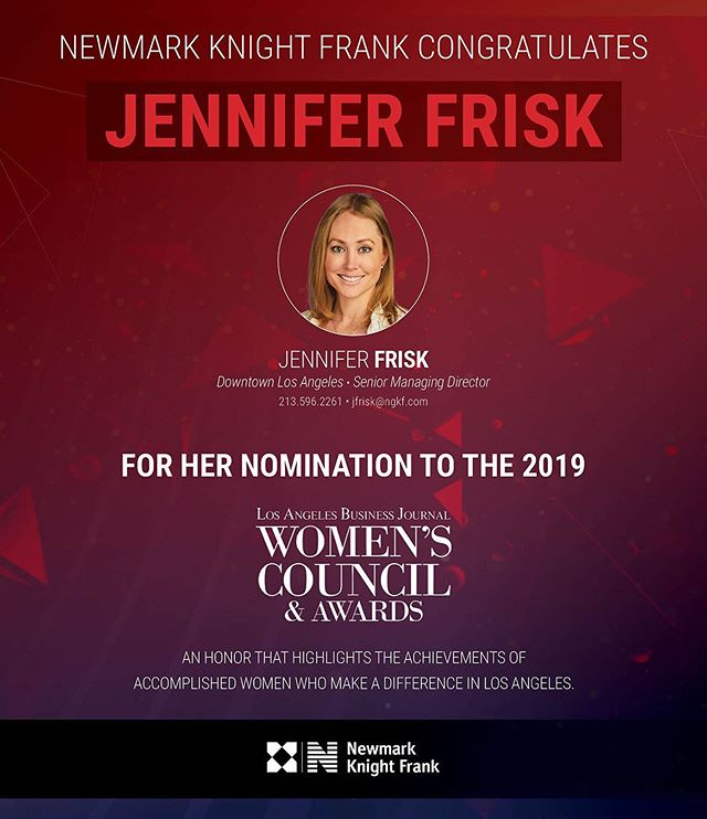 Congratulations to Jennifer Frisk and all of the women who were nominated to the 2019 Los Angeles Business Journal Women's Council & Awards! #CRE #WomenInCRE #LABJ