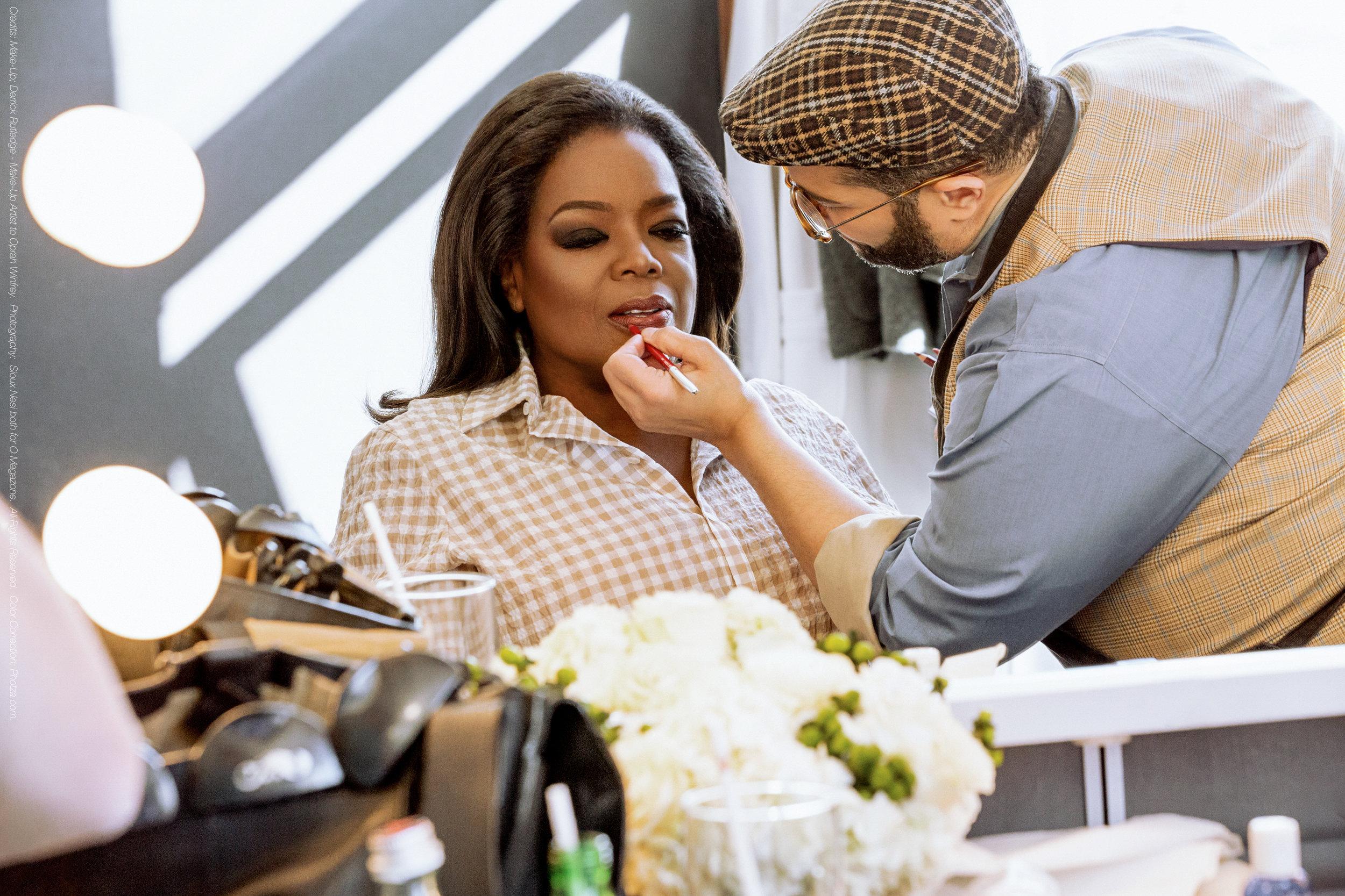 Oprah Winfrey Celebrity Makeup Artist Derrick Rutledge applying make up to client Oprah Winfrey
