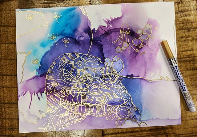a nidhi rathi - alina liu collaboration! . . . . . . . . . . . . . . . . . . . . . #artspiration #inspirartion #color #purple #art #paint #alcoholinks #inks #gold #colorful #art #artful #underthesea #seacreatures