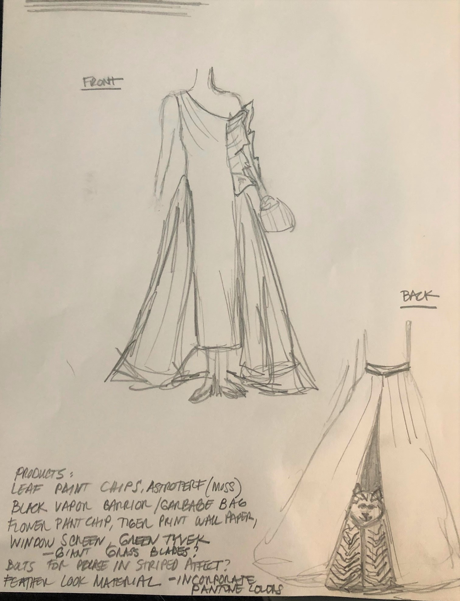 The preliminary sketch! We wanted a gown with a dramatic overskirt. Excited to get to work!