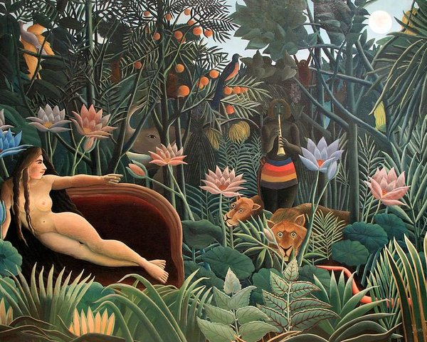 Our design was based on the painting The Dream by Henri Rousseau. Isn't it beautiful? So colorful and full of life. There were so many things from the painting that we wanted to incorporate into the look.