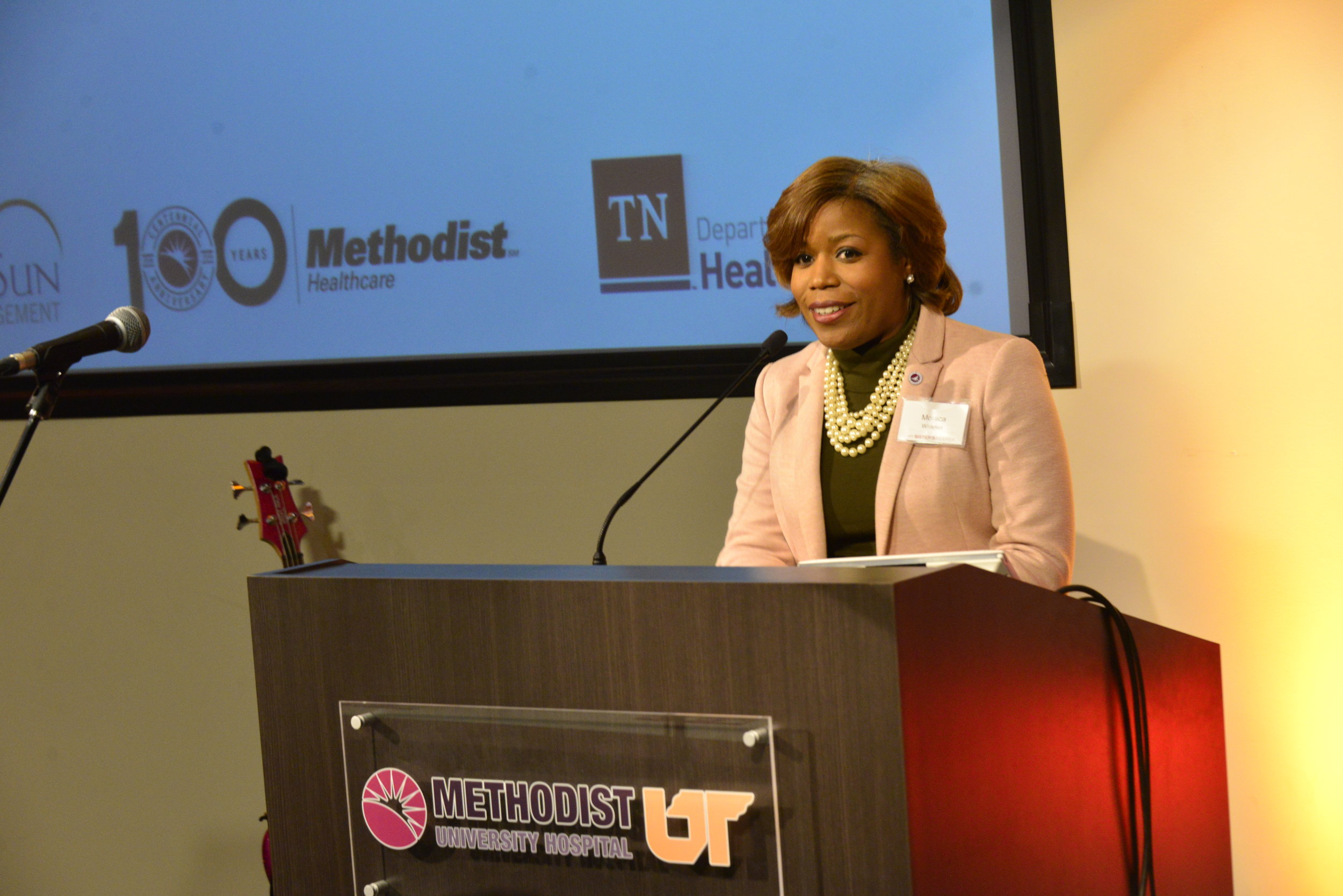 Monica Wharton, Senior Vice President and Chief Legal Counsel at Methodist Le Bonheur Healthcare, speaking at the inaugural summit.