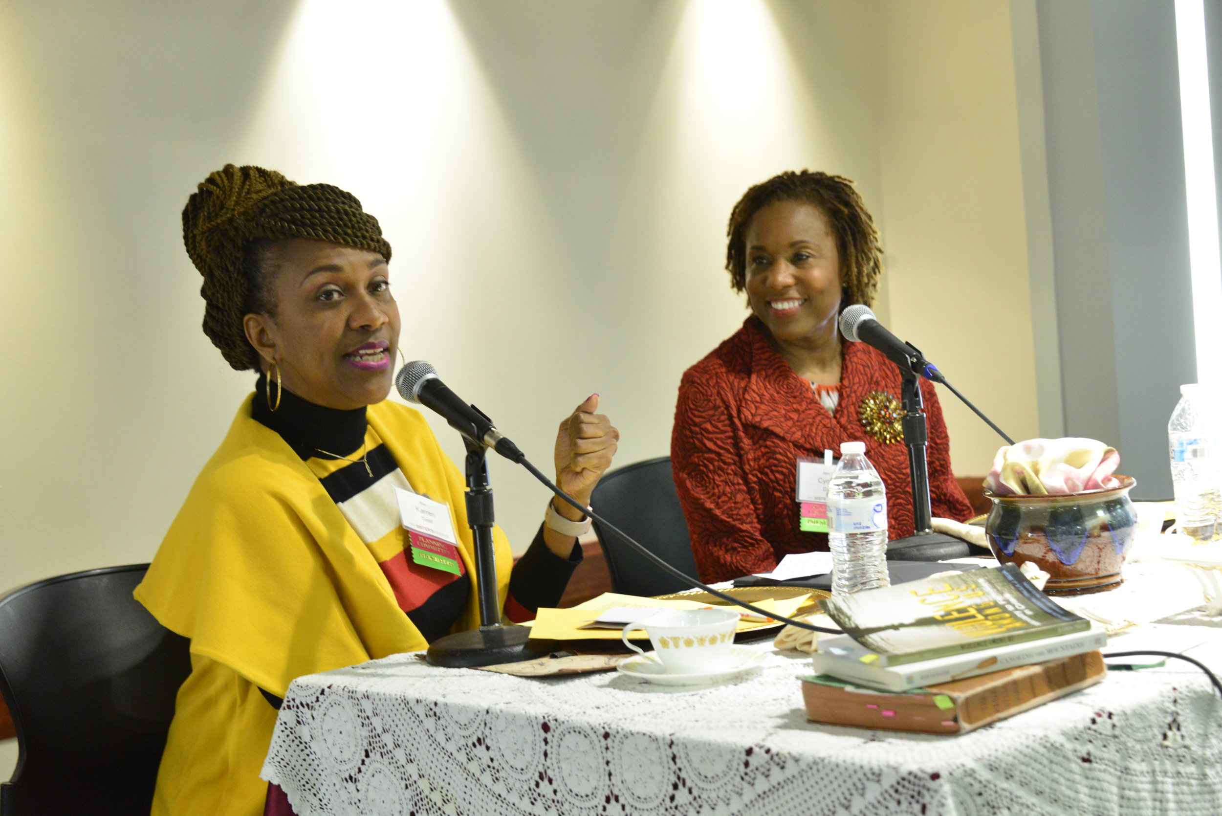 "Rev. Karren Todd and Rev. Dr. Cynthia Davis leads the workshop ""Kitchen Table Talks."""