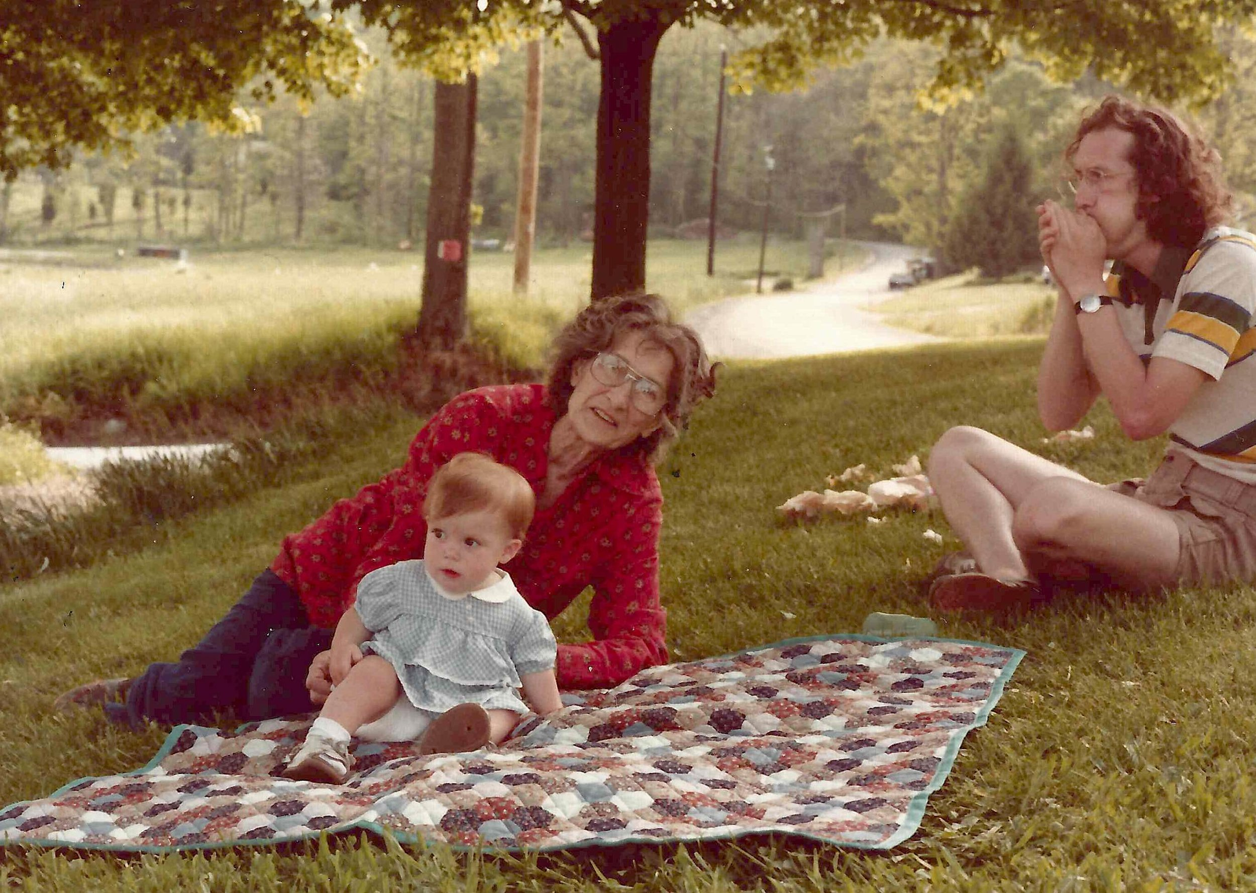 Virginia Bartow in 1981 with me and my father Charles Hardy at her farm in Hope New Jersey.