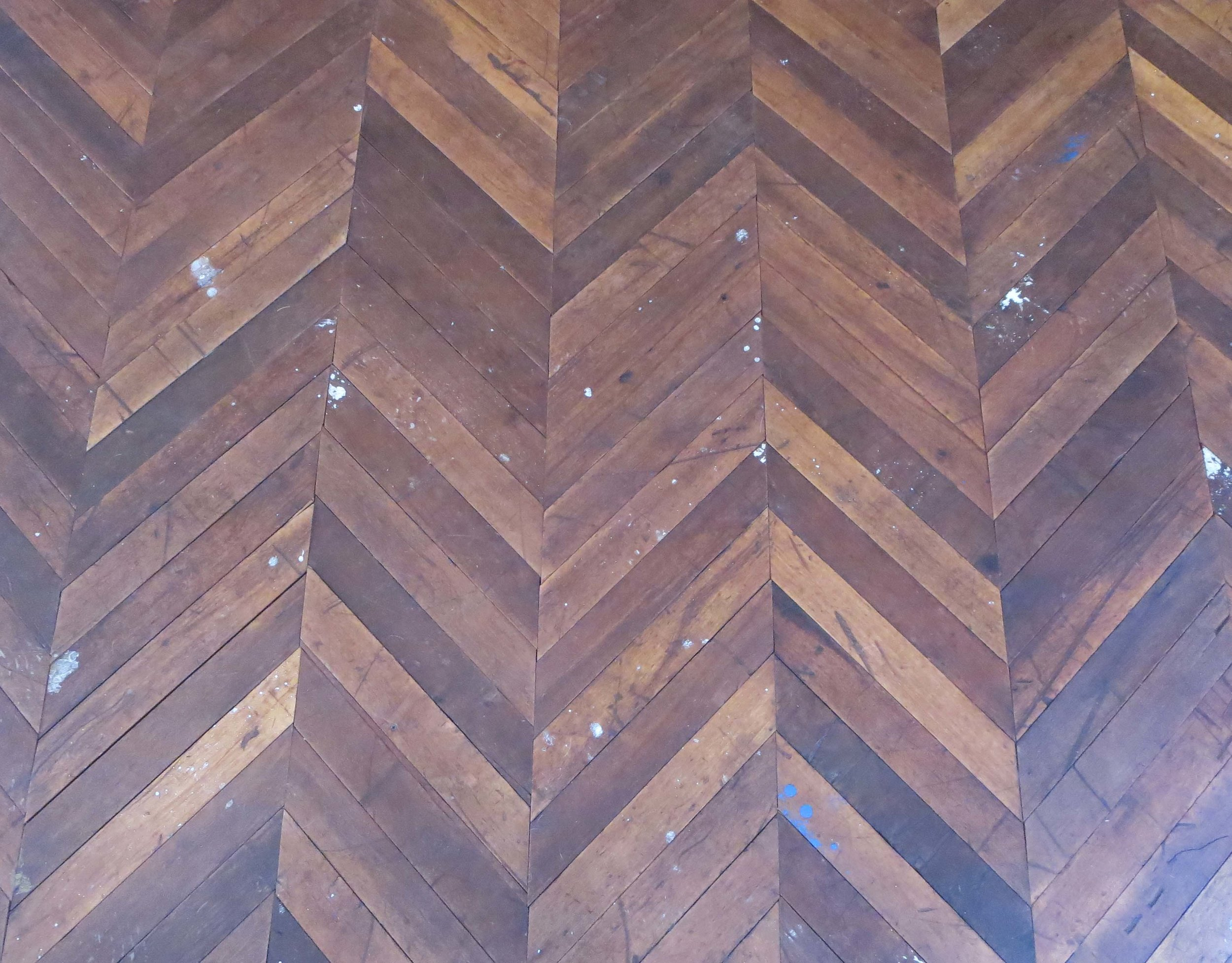 The hand-laid wood tiles in Alex's studio, built for her by her husband.