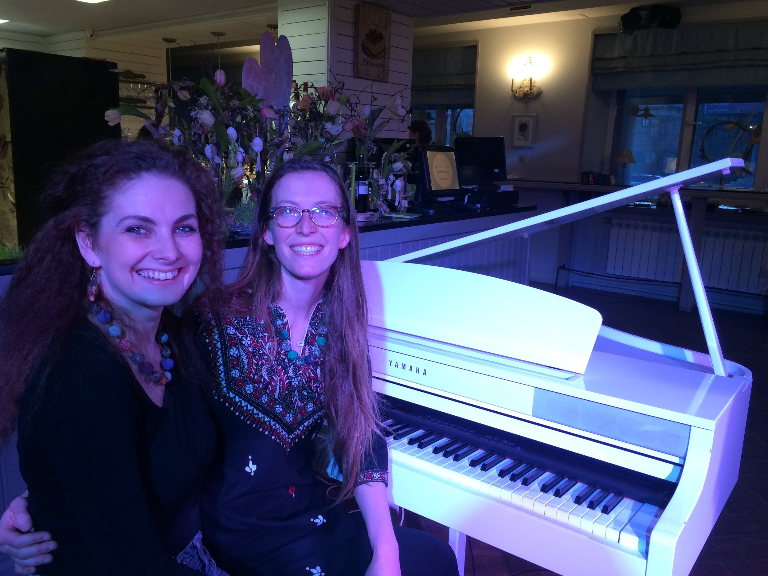 Anna Akimova and me at our performance at La Terrasa in Arkhangelsk. 2017