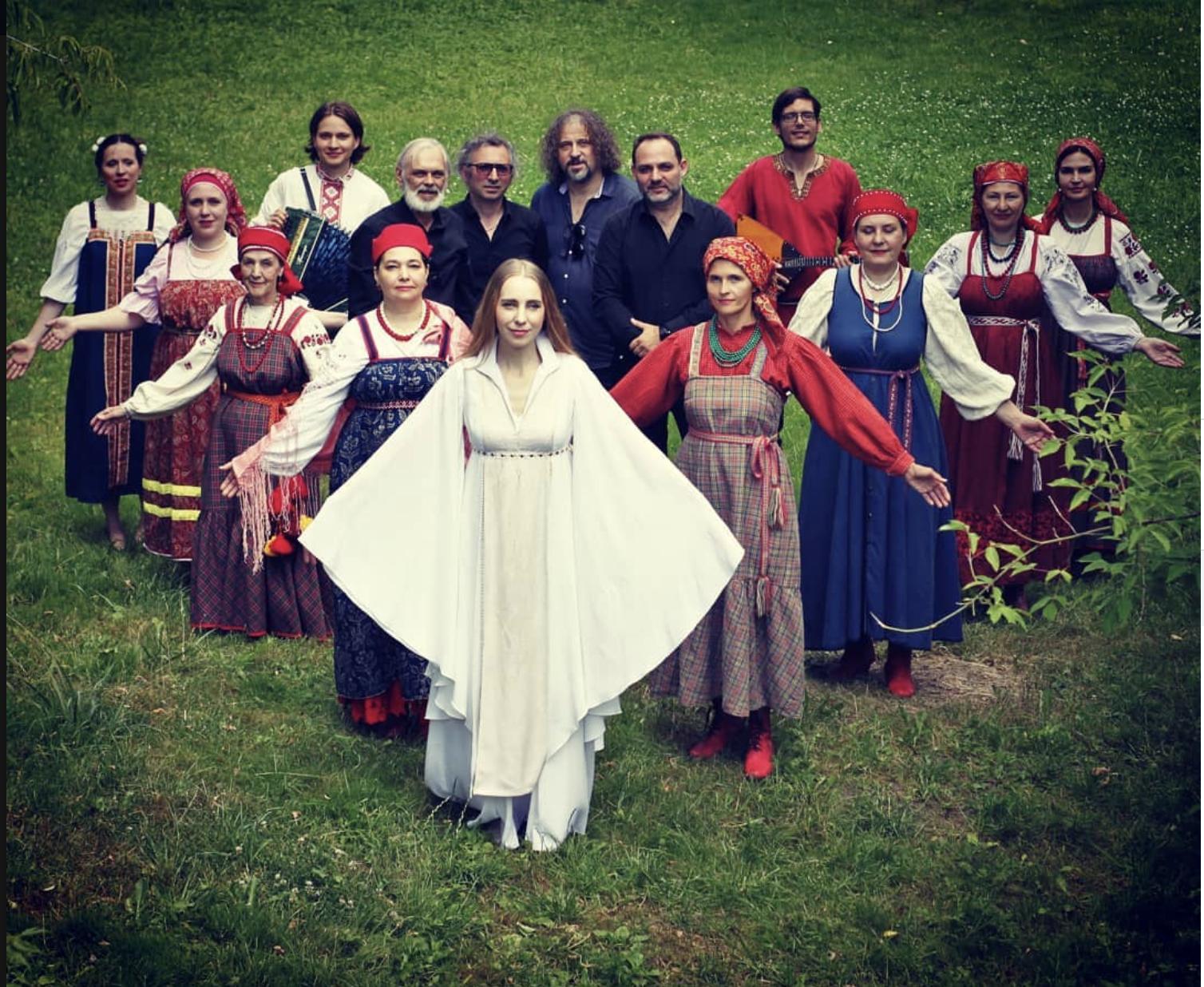 Nadezhda Mironova with her folk ensemble.