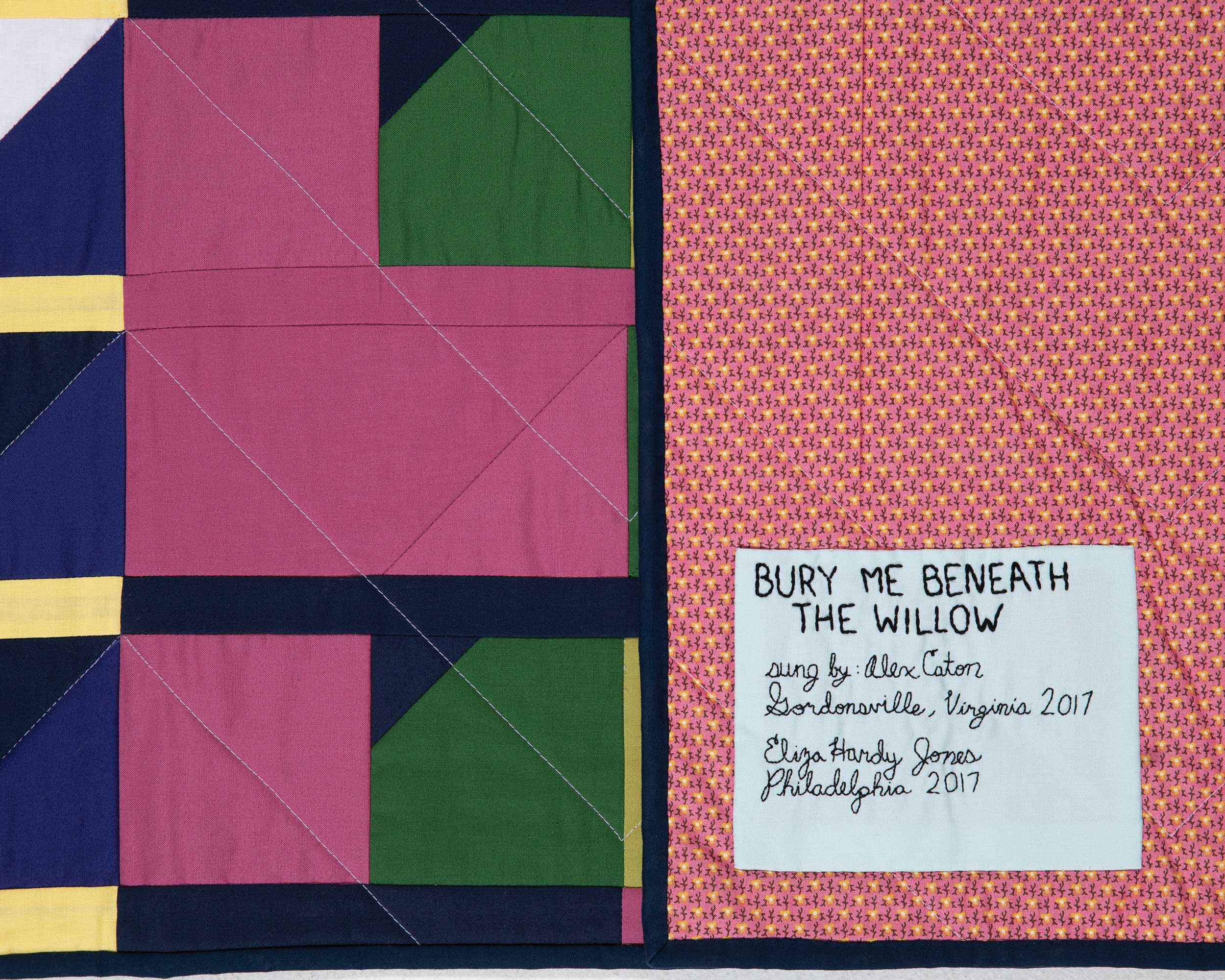 A traditional backing fabric, with a detail of the chevron quilting.