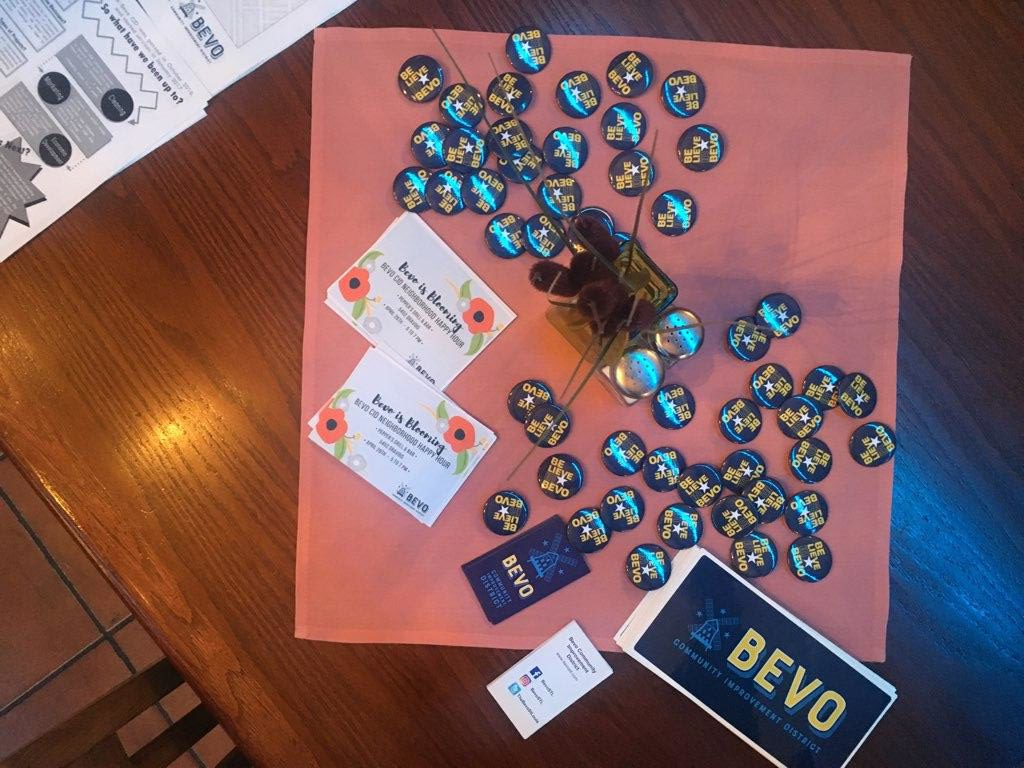 Bevo CID swag at a recent happy hour held at Taft Street Restaurant & Bar