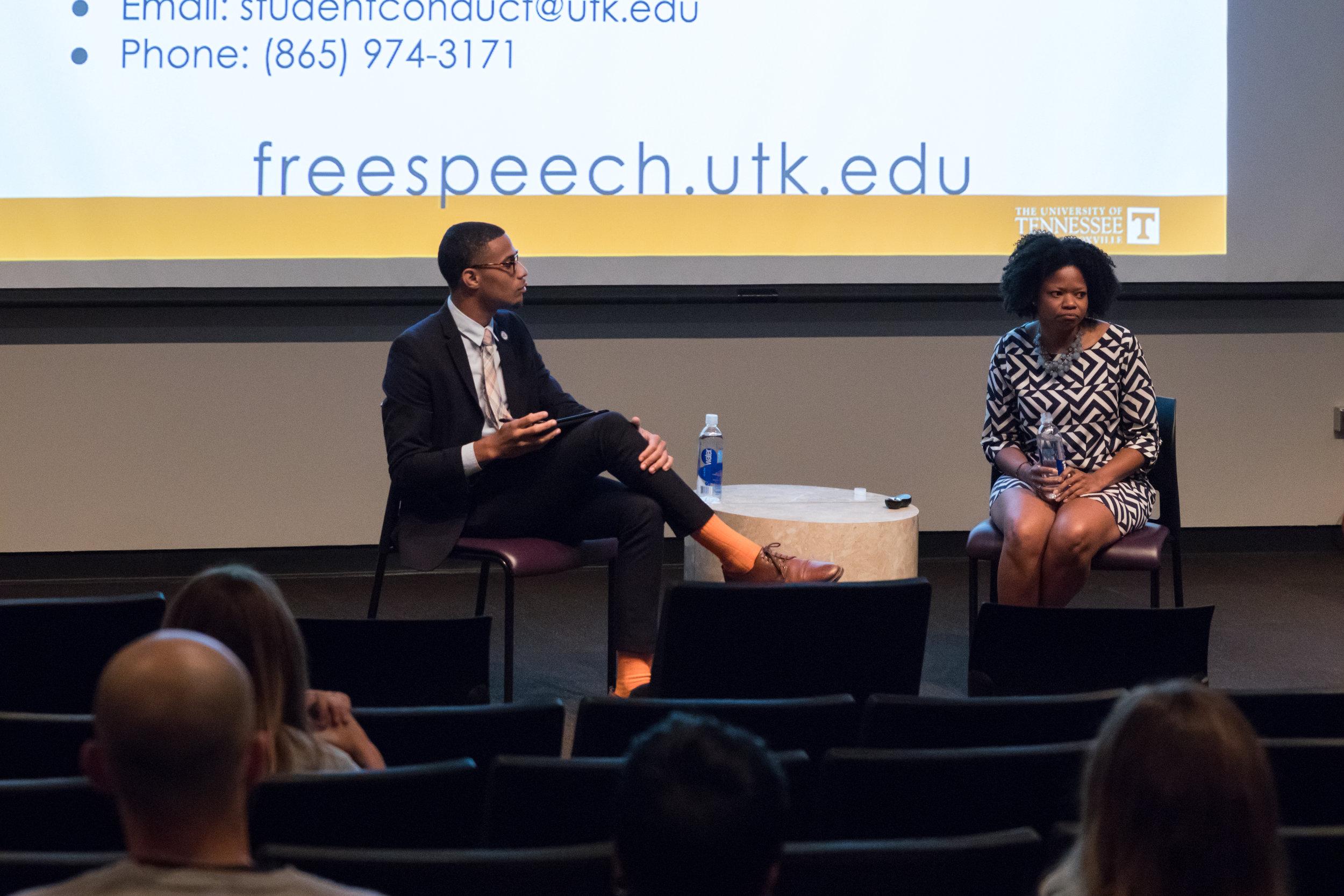 Mustafa Ali-Smith as he moderates forum on free speech.