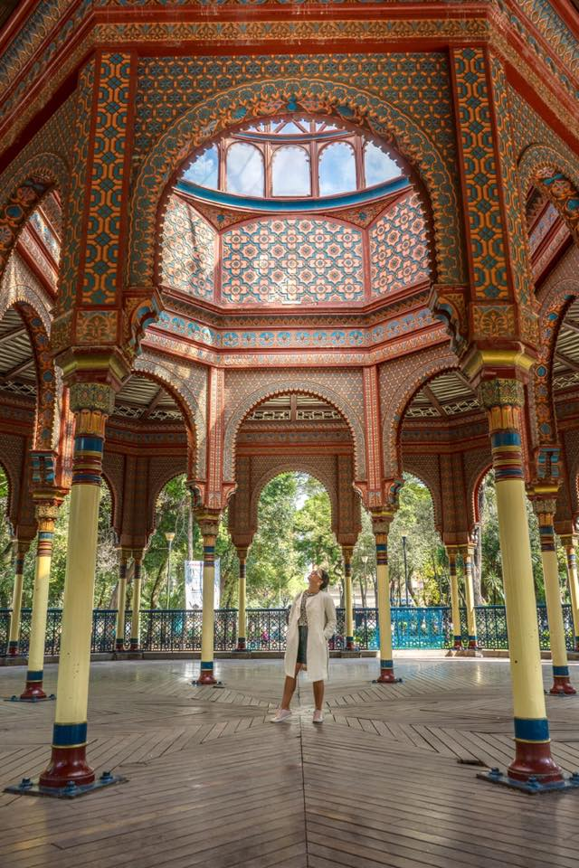 Cristina Lugo at Kiosko Morisco in downtown Mexico City, a testament of Mexico's Arab & Muslim roots. Photo source IG @morenita.experience