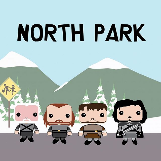Come on down to North Park... 🗡Video coming this week. Character Design @translude  #gameofshows #gameofthrones #funkopop #funko  #stopmotion #funny #hodor #laugh #toys #jonsnow #meme #mashup #tv #toyphotography #toyphoto #parody #southpark #northpark #cartman #kenny  @buzzfeed @southpark @gameofhilarious @reddit @designtaxi_ #illustration #drawing #cartoon #design