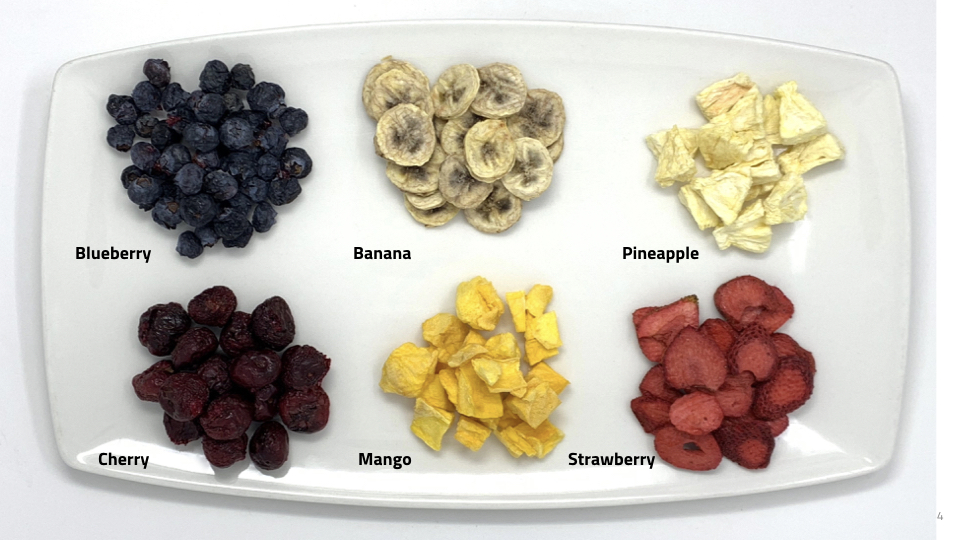 Some ingredient examples of the SAUNA DFD Freeze Drying Process -better structure (crunch), color and flavor of any other product