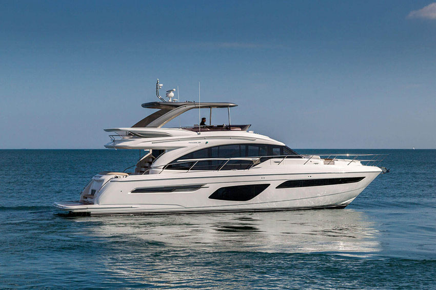 Princess F62 - This yacht is designed for socialising. There are three beautifully appointed guest cabins – all en-suite, huge dining area, sunpad aft, and acres of space throughout the airy saloon. There is also, a unique circular forward seating area that can be converted to another sunpad if needed! All created with meticulous attention to detail to create an environment that's modern, cool and fresh.