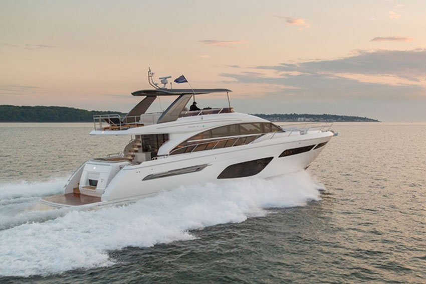 Princess F70 - FEATURING THE VERY LATEST IN PRINCESS FLYBRIDGE DESIGN AND THE NEW ALLURE COLLECTION - AN OPTIONAL STYLE PACK FEATURING AN ARRAY OF FIXTURES, FITTINGS AND FINISHES, THE ALL-NEW F70 IS THE FLAGSHIP OF OUR FLYBRIDGE RANGE. HER GENEROUS, 26.58M2 FLYBRIDGE ACCOMMODATES A LARGE U-SHAPED DINING AREA, SERVED BY A FULLY EQUIPPED WETBAR, AFT SUNPAD AND FORWARD SEATING AREA ADJACENT TO THE HELM.