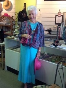 Susie Zavadnik modeling for the Be Beautiful Block Party Fashion Show at Cafe Venice