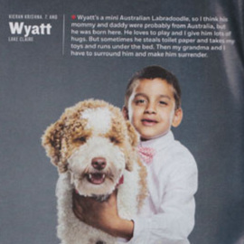 Wyatt - molly/romeo 2014 - Hi Jeana, I hope this email finds you well! I just wanted to share with you that Kieran and Wyatt are doing great together. They have similar personalities and couldn't have been more perfectly matched! We entered them in Atlanta Magazine's best Atlanta pet contest and they were one of the finalists!
