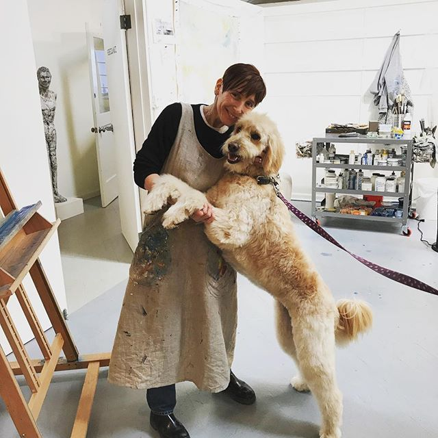 Blossom, my 4 year old #goldendoodle, came to my studio for a visit during Working Open Studios at the ICB building.  #artistsandtheirdogs #artist #icbartists