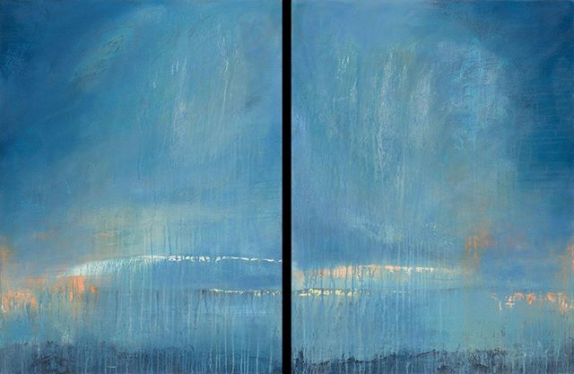 """Reflective"" 1 & 2,  Diptych 40""x30"" per panel.  Another exercise in painting larger than my 5""2' self. ;) I had to use my trusty step stool and increase my wing span. ⁣ ⁣ #abstractpainting #contemporarypainting #blueabstractpainting #interiordesign #icbartists #bayareaartist #acrylicpainting"