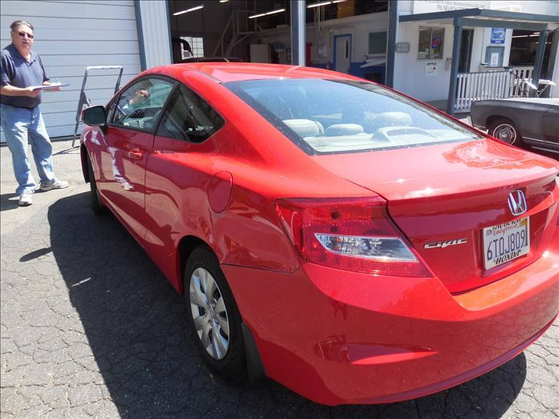 2012 Red Honda Civic Rear Quarter Panel Dent Repair