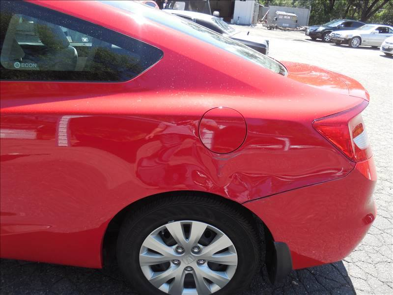 2012 Red Honda Civic Rear Quarter Panel Dent Repair Side Profile