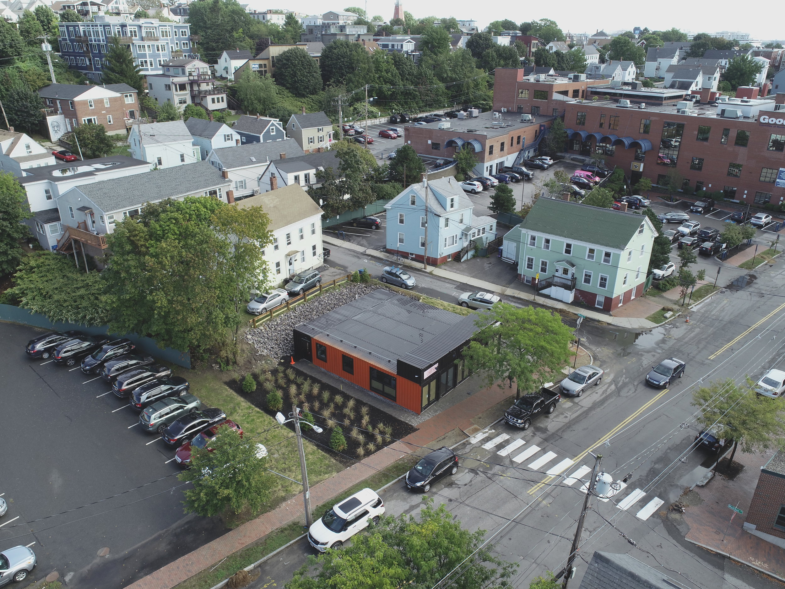 Aerial shot taken of The Black Box (photo courtesy of The Black Box).