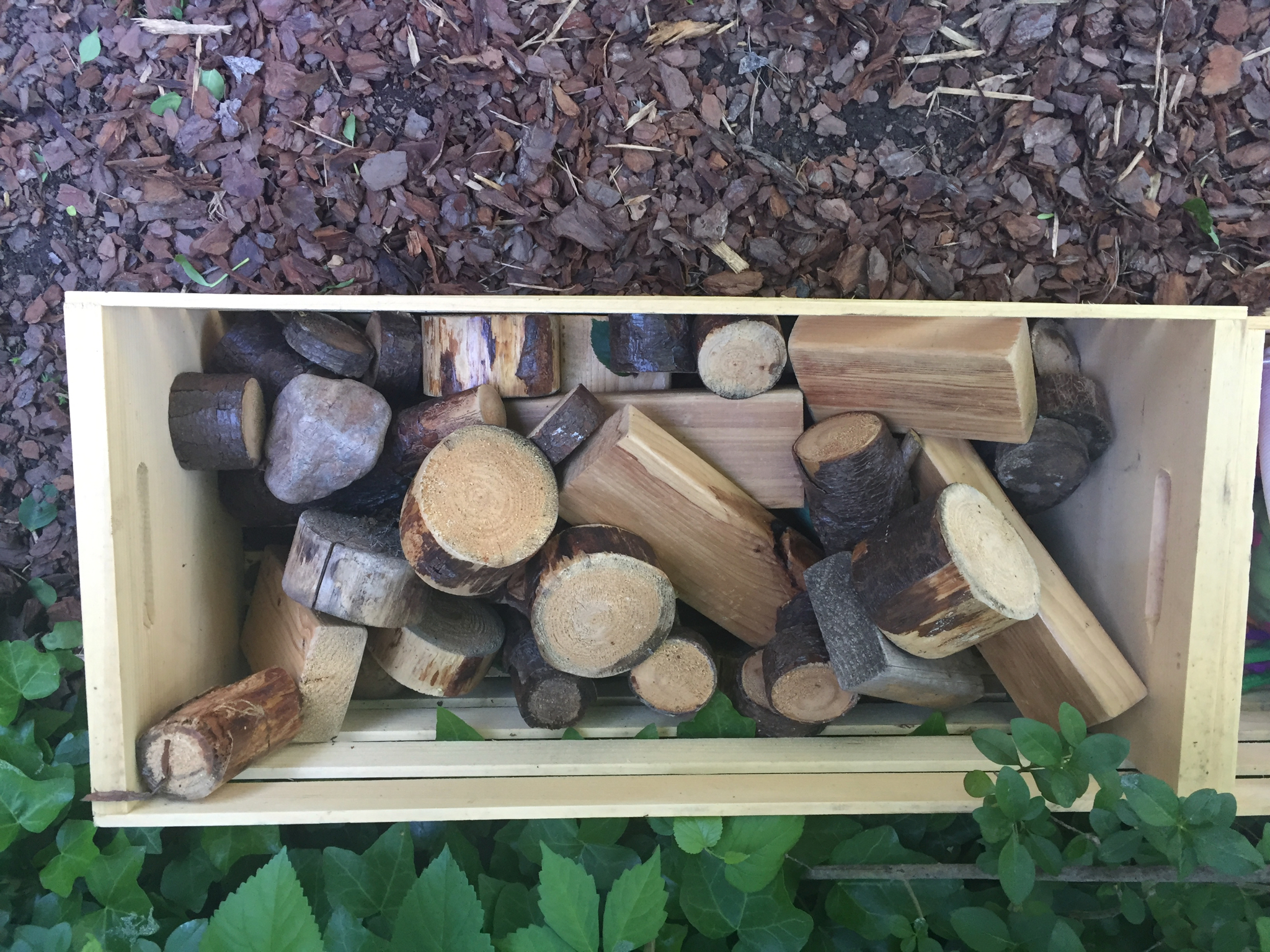 OUTDOOR BLOCKS  Materials: large, thick branches cut into stumps and sanded, 2X4's cut and sanded (they will do this for you at Home Depot), non-toxic outdoor wood stain. You can also buy  some pre-made ones!   Process: If you have power tools, this is an easy project to do at home—otherwise enlist your favorite contractor or handy friend to make these simple blocks for you. Store in a bin outdoors where water won't collect. Use for outdoor building projects or to decorate a garden together.  Words: stack, balance, build, fall, shape words, ramp  Questions: What did you make? Tell me about…. I wonder if? What if we…