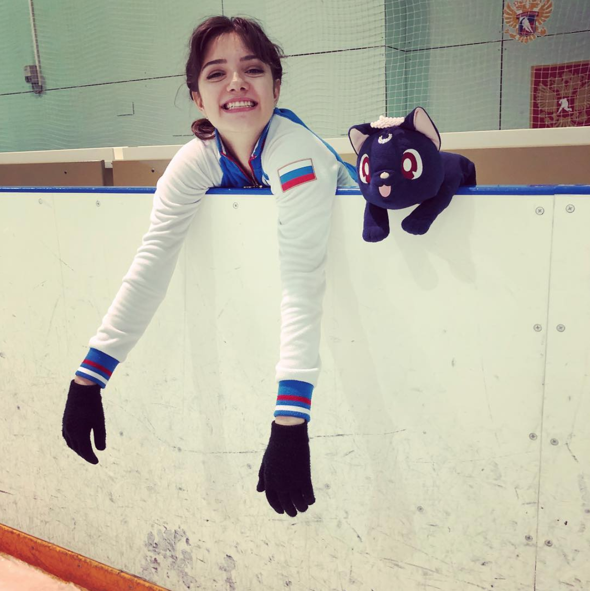 Evgenia Medvedeva at practice for the Russian Test Skates ( Photo Credit )
