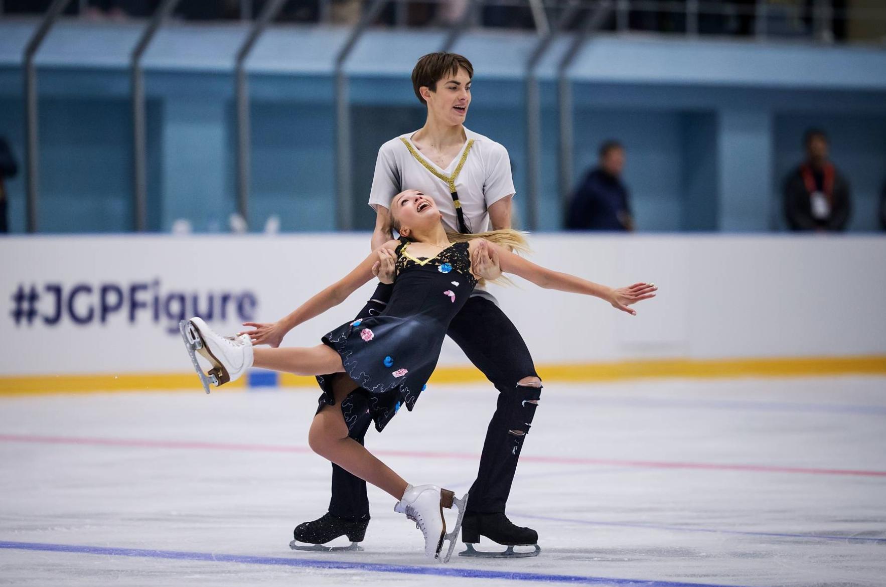 """Arina Ushakova and Maxim Nekrasov (RUS) perform their Free Dance to """"Black Cat, White Cat"""" at JGP Armenian Cup (   Photo Credit: ISU   )"""