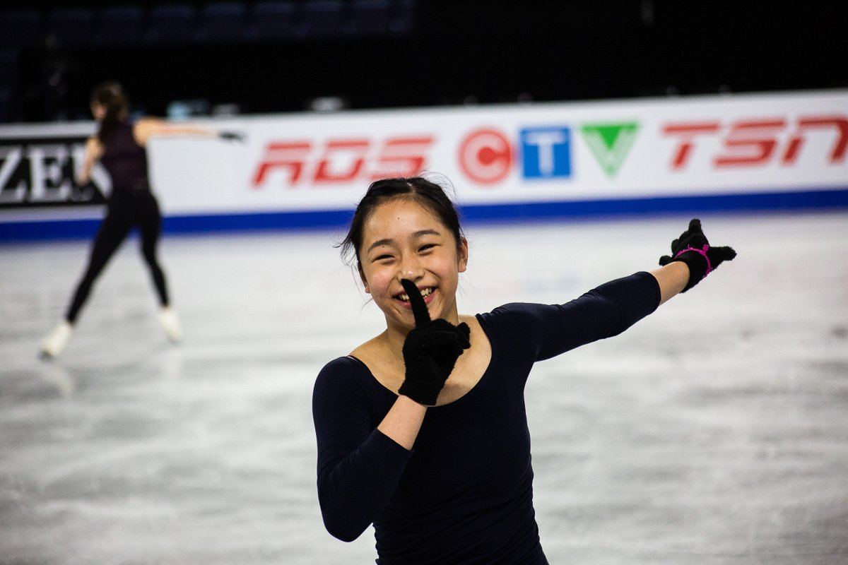 Ladies silver medallist Mako Yamashita smiles during practice (   Tweet it here   )