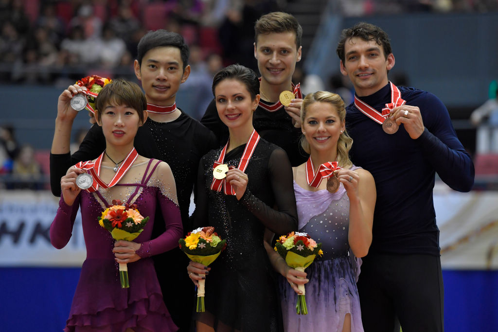 NHK Pairs podium - winners Natalia Zabiiako/Alexander Enbert (RUS) have qualified for the Grand Prix Final with two golds (   Photo credit: ISU   )