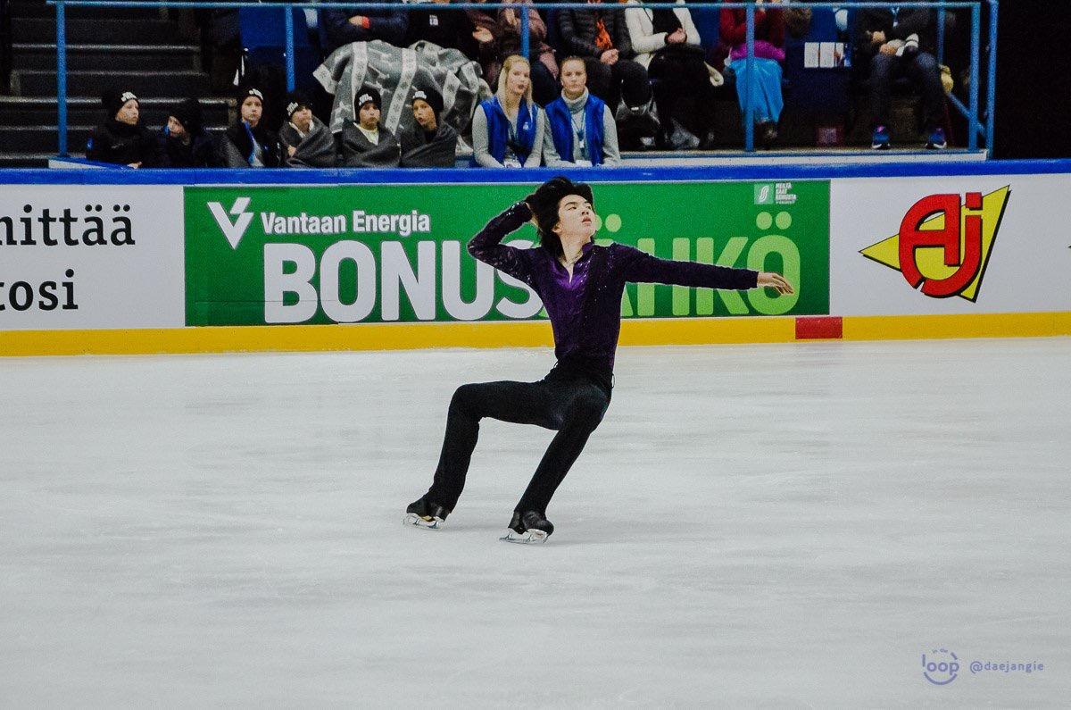 "Junhwan Cha (KOR) performing his ""Romeo and Juliet"" Free Skate at Finlandia Trophy 2018 ( Source: Clara )"