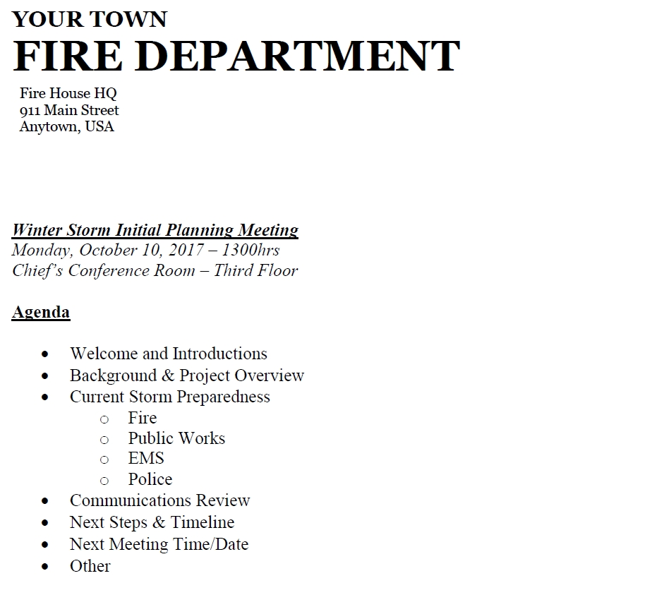 Sample agenda for a fire department planning meeting with other Town Departments.