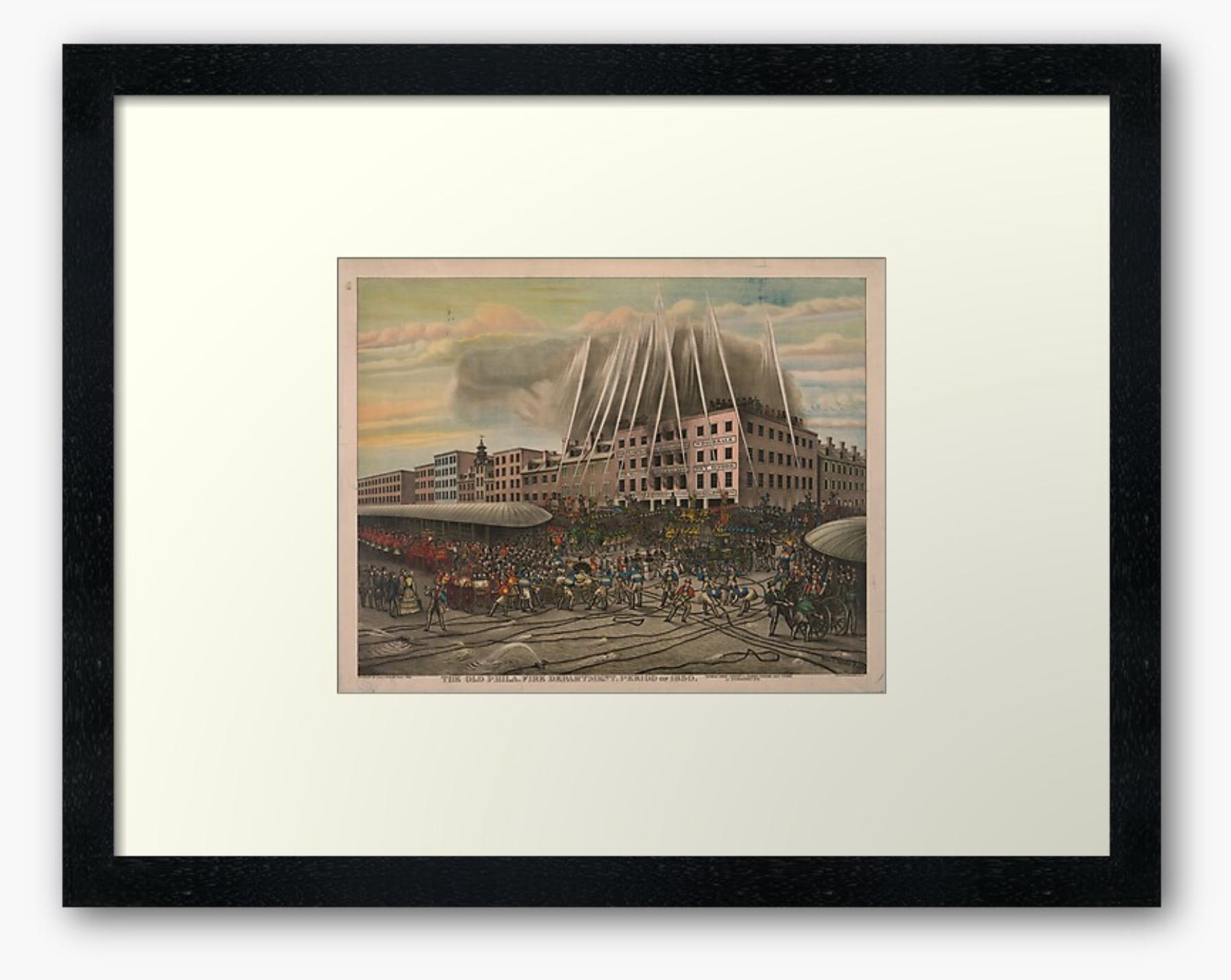 Vintage Old Philadelphia Fire Department of 1850 Print Framed Art Print