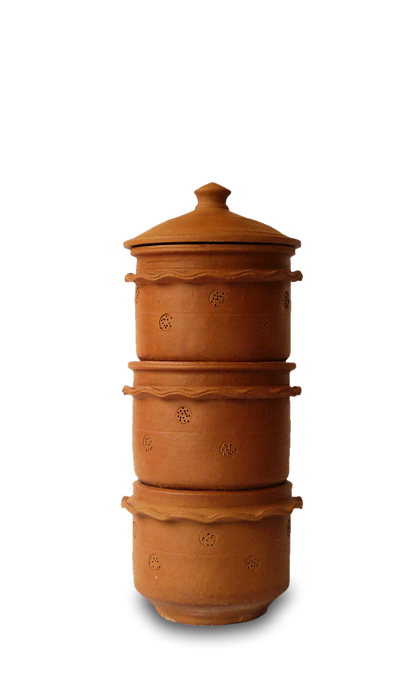 KAMBHA 3 TIER SMALL - The smaller version of our classic composter is good for a family of 2-3 and about 1 pound of daily kitchen waste. Popular with mature couples, it is easy to lift, fits snugly into a tight spot, and adds charm to composting. Like our classic composter, holes in the terracotta allow fresh air to flow in and out, promoting the composting process.