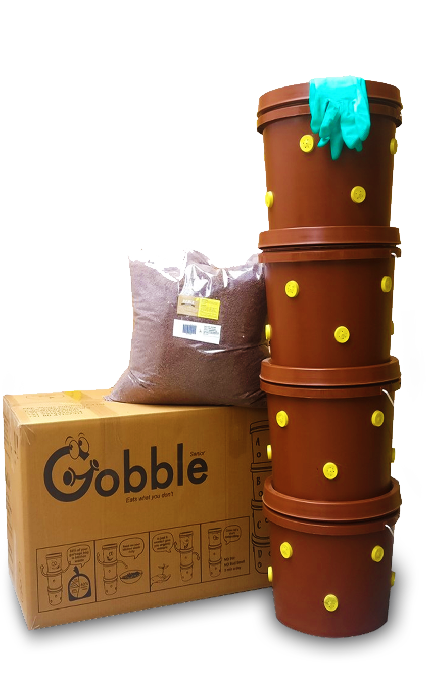 GOBBLE SENIOR - Our Gobble Senior is made from sturdy plastic, and good for a family of 4-5 and 2 & ¼ pounds of daily kitchen waste. It fits snugly into a tight spot and is easy to keep clean. The side vents allow fresh air to flow in and out, promoting the composting process – that means no odors or mess!