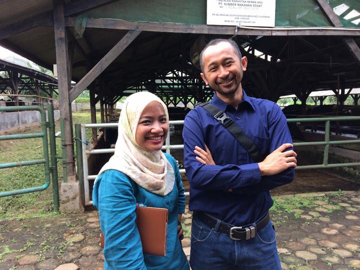 Pak Wahyu Ramdani and Febrina Prameswari, at PT Ben Buana Sejahtera (feedlot, Cianjur, West Java.