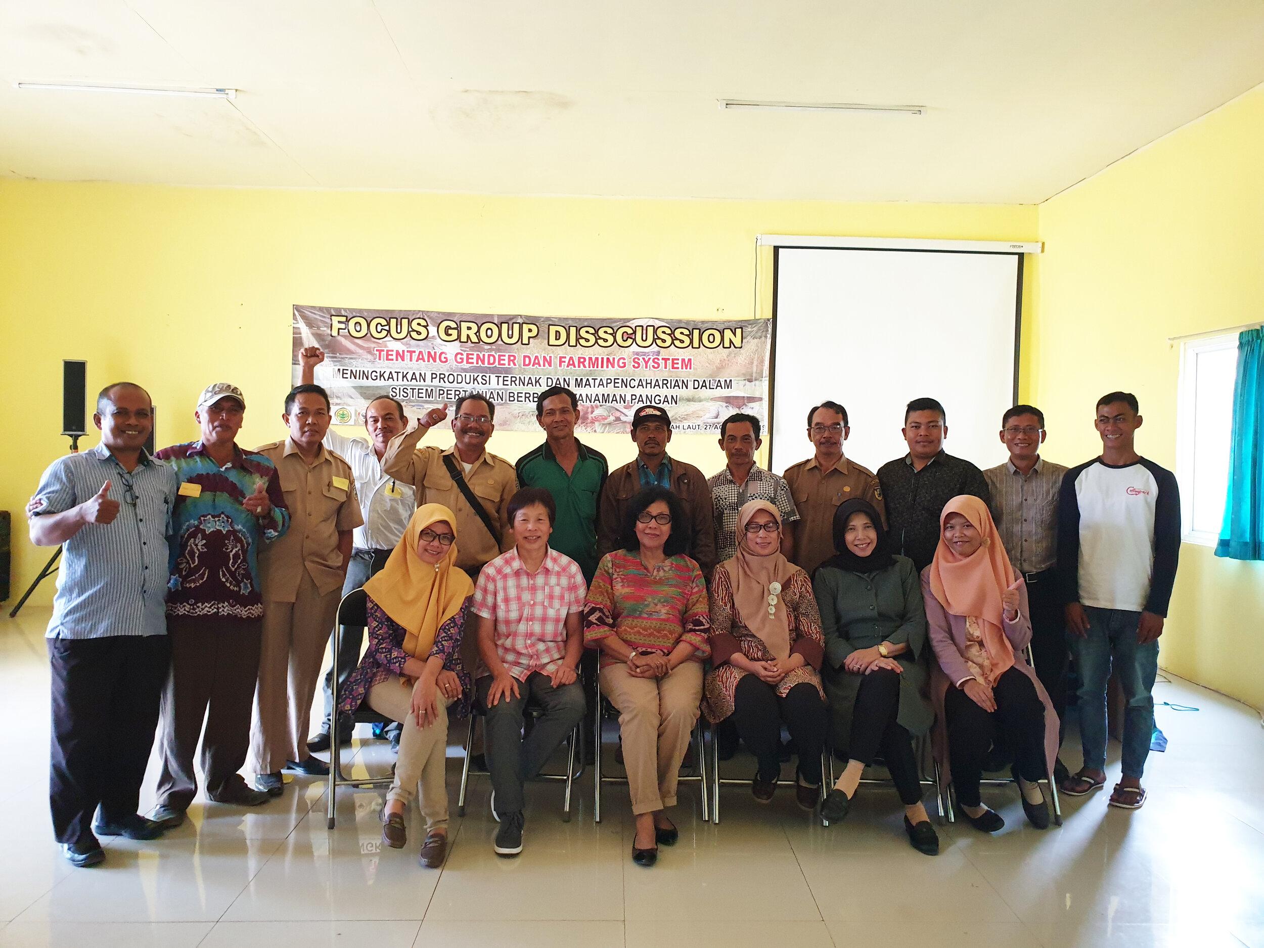 Men's gender Focus Group Discussion participants and researchers, Tanah Laut, KalSel, August 2019.  Photo: Rene Villano