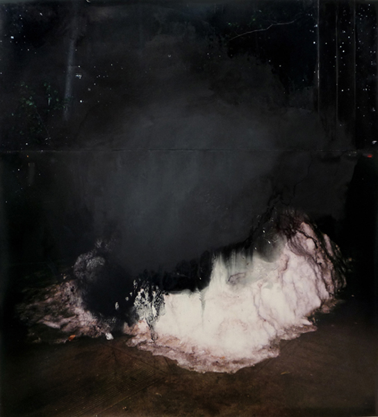 "Snow  54"" x 49""  oil on collaged c-print  2011"