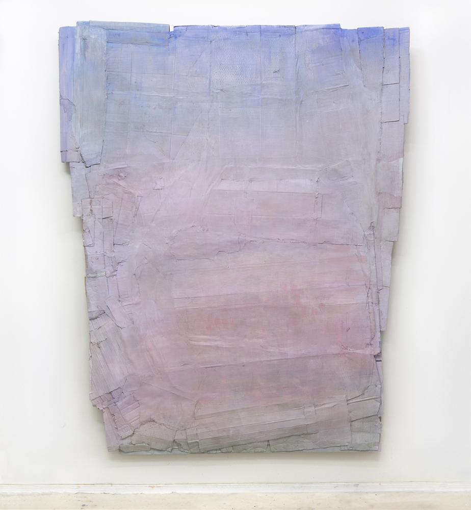 "Dreamer  68"" x 86""  wood, cardboard, paper, paint  2016"