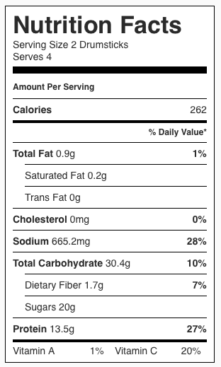 Nutrition facts Nutritiously Simple Jackfruit Chik'n Drumsticks.png