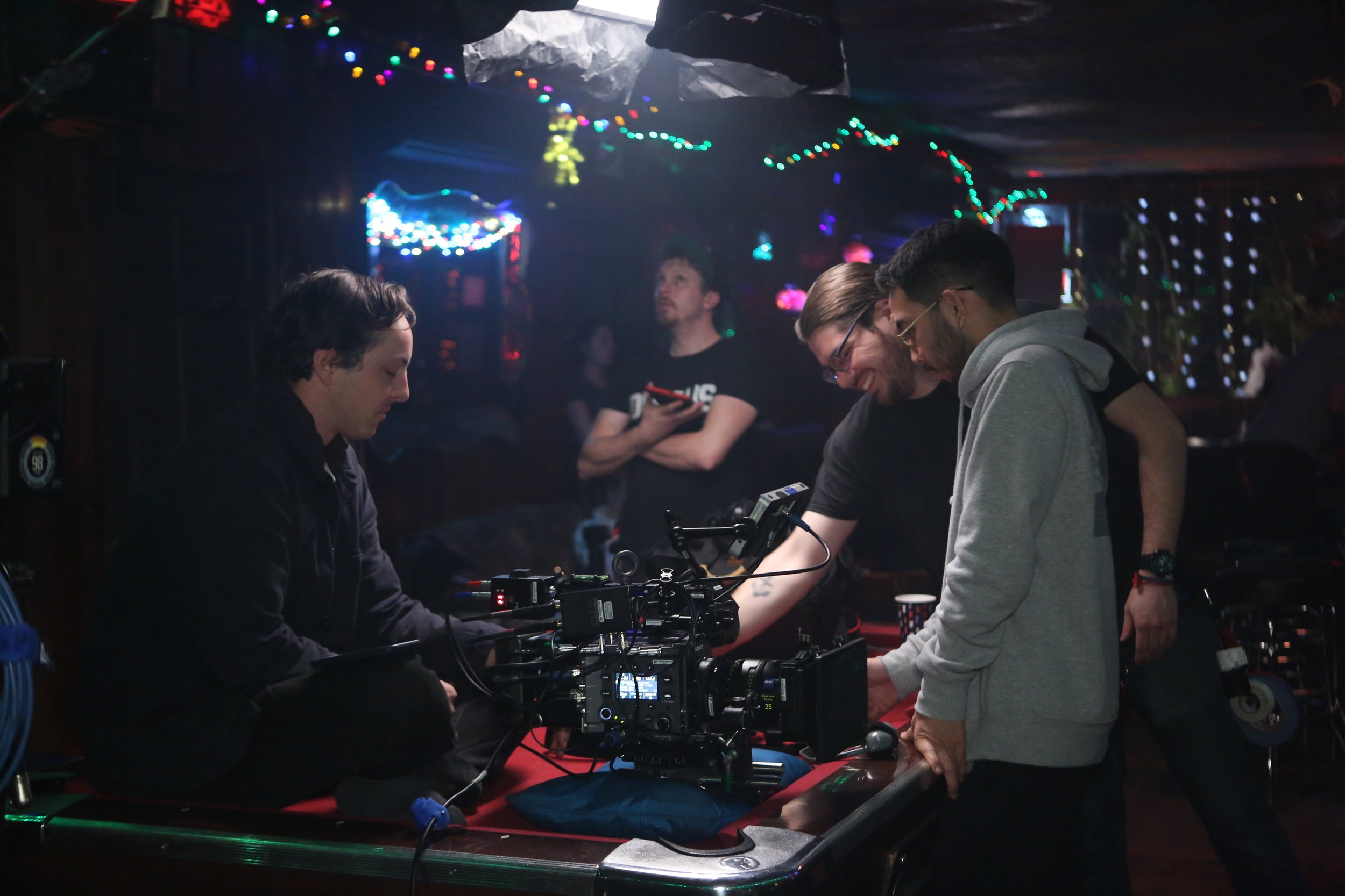 Break and Run production still: Camera Team (L to R) Sebastian Slayter (DP) Marino Sunnuti (2nd AC), Yusuke Sato (1st AC)