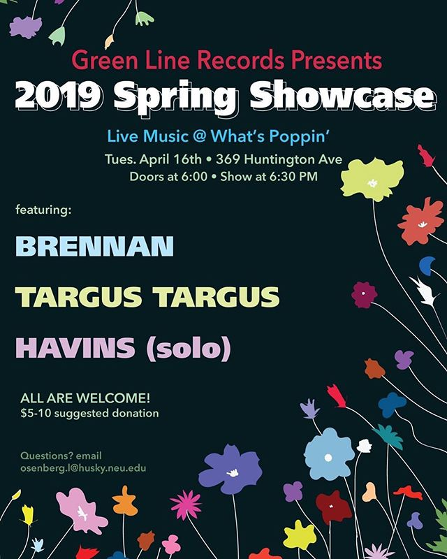 our last show of the year! come celebrate some of the awesome artists we've gotten to work with this year! $5-10 suggested donation for the artists at this show in What's Poppin' (next to Marino gym) . . . . . . . . . . . . . #bostonmusicians #localartist #bostonartist #concert #bostonconcerts #bostongig #localmusic #localmusicians #localmusicscene #alternative #alternativemusic #indie #indiemusic #electronicmusic #northeasternuniversity