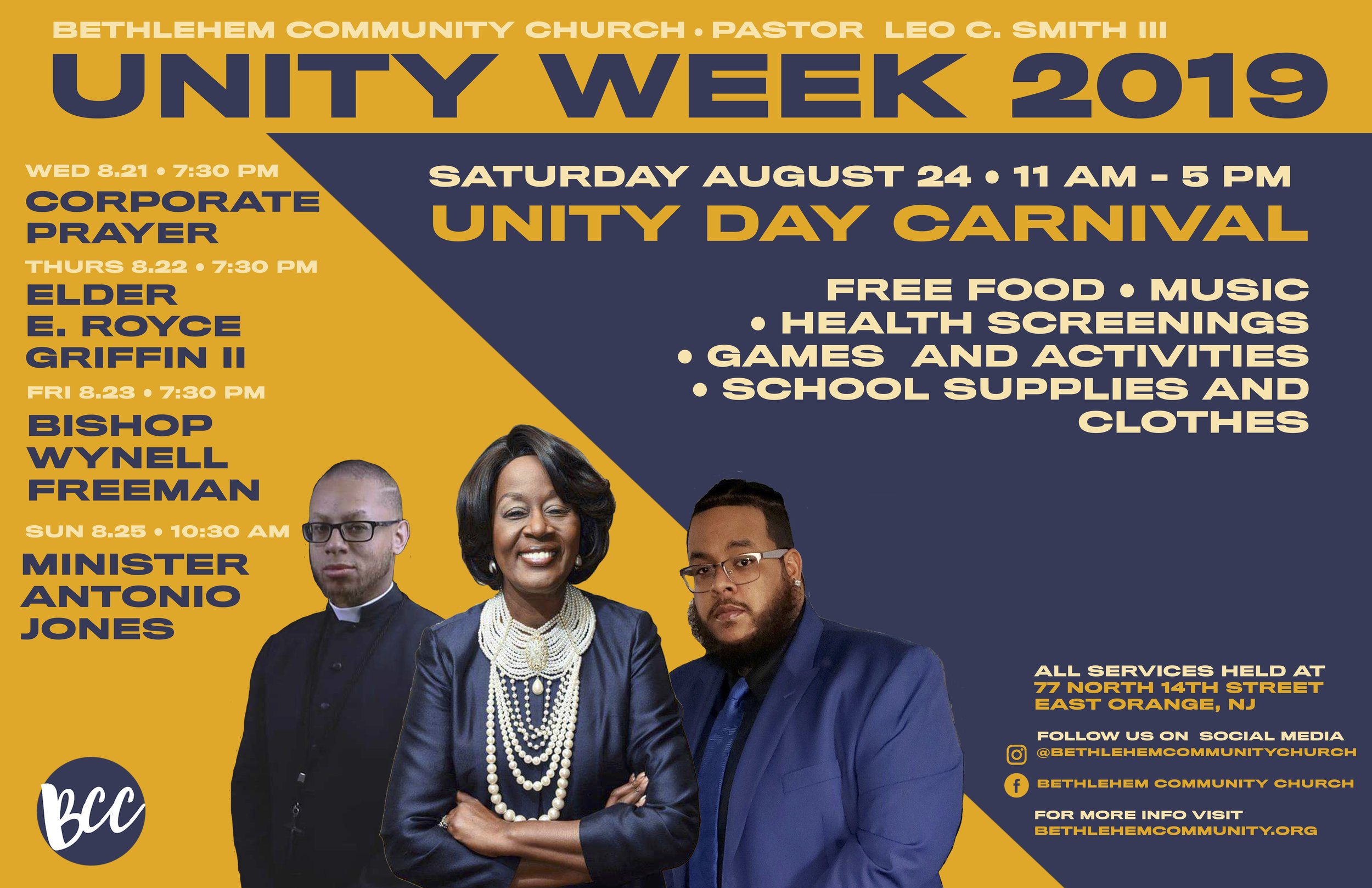 UNITY 2019 - THE COUNTDOWN TO NEXT YEAR'S UNITY WEEK HAS BEGUN. EVERY YEAR, THE BETHLEHEM COMMUNITY CHURCH COMES TOGETHER FOR A TIME OF CELEBRATION AND OUTREACH…