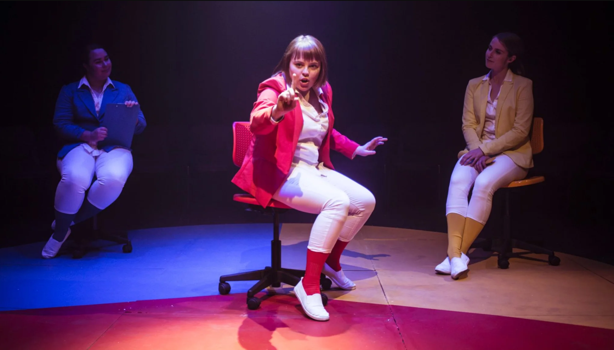 Pictured: Keagan Vaskess, Nicola Bowman and Emma Hoy in  Alexithymia ; set design by Stuart Brown; lighting design by Peter Amesbury; photography by Pippa Samaya.