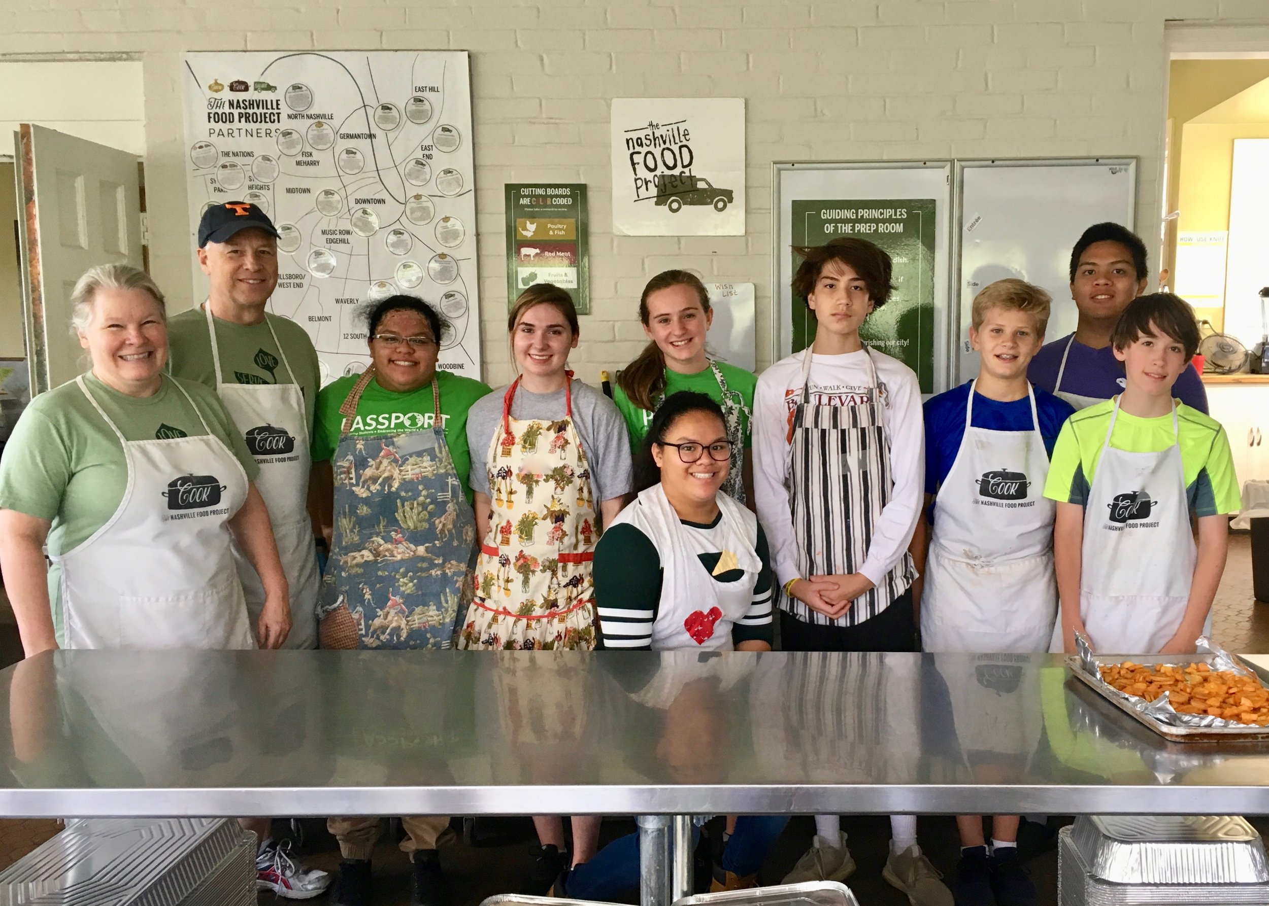 The Immanuel Youth are enthusiastic meal prep volunteers at The Nashville Food Project.