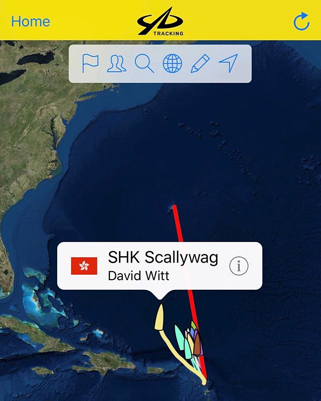 SHK Scallywag are still trucking along with current boat speed 12.1 kn with 553 NM to go. Keep up the good work team 💪🏻 Follow the race on Yellow Brick Tracker http://yb.tl/a2b2019  Update from Navigator Miles Seddon:  All has been gonig well onboard, we've had some great fast sailing leaving the Caribbean with the MH0 on.  Right now we are around 566nm from the finish, but the trade winds are dying and we are starting to see the winds drop below 10kn.  We are around 180nm from a front which will bring a change in conditions, from the light SE'ly winds we currently have, to fresher NE'ly winds which should see us tight reaching towards Bermuda.  Unfortunately, there is an area of very light and variable winds with showers, between us and the front.  We have done our best in positioning to the west, to allow the worst of this light patch to pass to the east, but it will still slow us down to outside the race record.  #Scallywag #ForeverFish #SHKS #HongKong #SunHungKaiCo #BrandHongKong #FUKUBLD #SailRacingOfficial #GreatBarrierReefFoundation #Clearly #pyshk #SuperMaxi #Sustainability #CleanTheSeas #AutismOnTheWater #AOTW #SeaDek #we_are_sungod